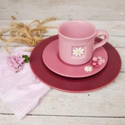 Oggetti per la casa. Sottopiatto, piattino e tazza con finestra (con decorazione margherita) - set 3 pezzi