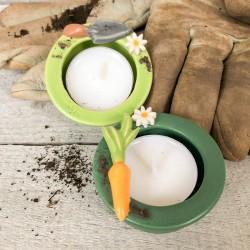 """Regali per la casa. Porta-tealight (2) con decorazione """"Giardinaggio"""""""