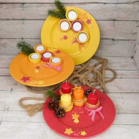 Regali di Natale. Piatto di Natale con porta-tealights (misura 1)