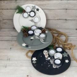 Adventteller mit Teelichtern Grösse 2