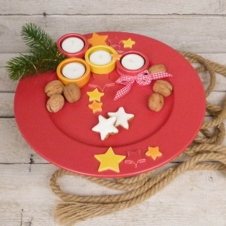Regali di Natale. Piatto di Natale con porta-tealights (misura 3)