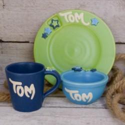 Regali per bambini. Piatto, tazza e ciotola (piccoli), con nome - set di 3 pezzi